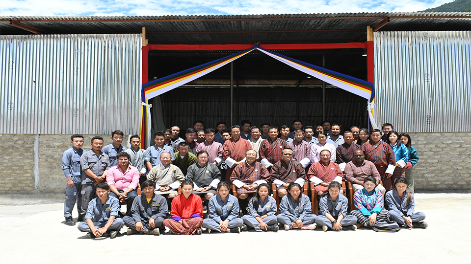 NHDCL staffs with board of directors Chairman Dasho Pema Tshewang and board members during the inauguration of NHDCL Paver & Concrete Bricks Factory and NHDCL Wood Works at Jemina Industrial Estate