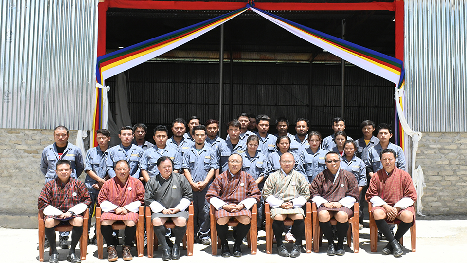 Jemina industrial Estate Staff with Board of Directors Chairman Dasho Pema Chewang and Board Members
