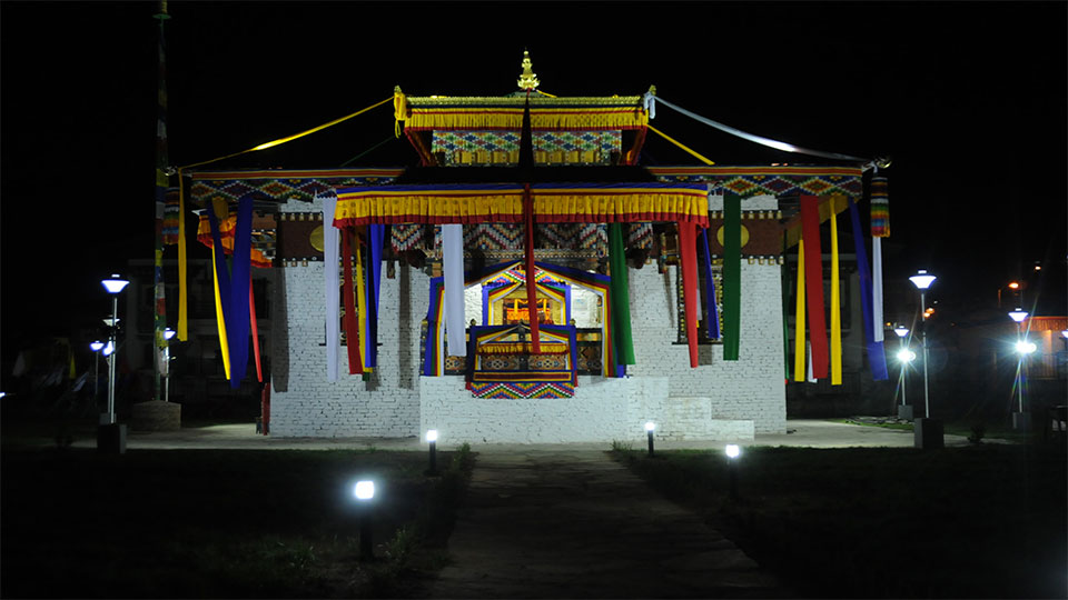 Night view of Changjiji Lhakhang
